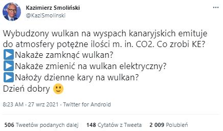 Poseł Kazimierz Smoliński tweetuje o wulkanie na Wyspach Kanaryjskich