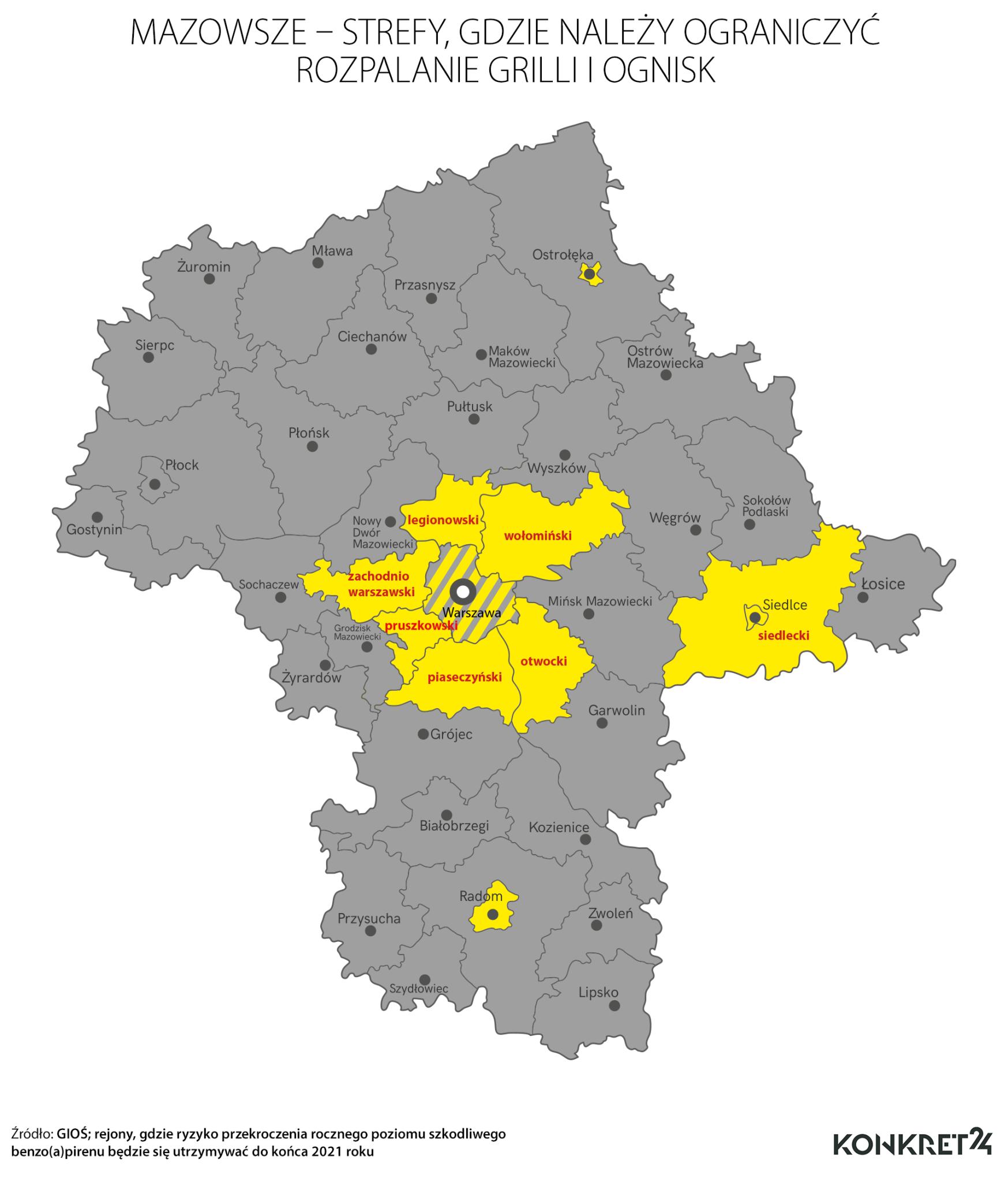 Mazowsze - strefy, gdzie należy ograniczyć rozpalanie grilli i ognisk