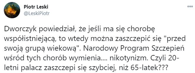 Post na Twitterze komentujący wypowiedź Michała Dworczyka o możliwości wcześniejszego zaszczepienia się osób z chorobami współistniejącymi