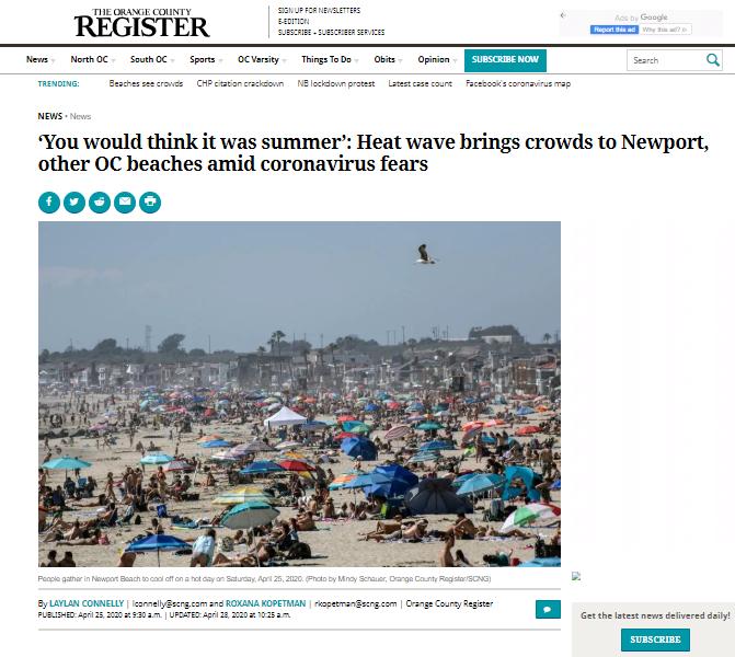 Fragment artykułu opublikowanego na stronie The Orange County Register