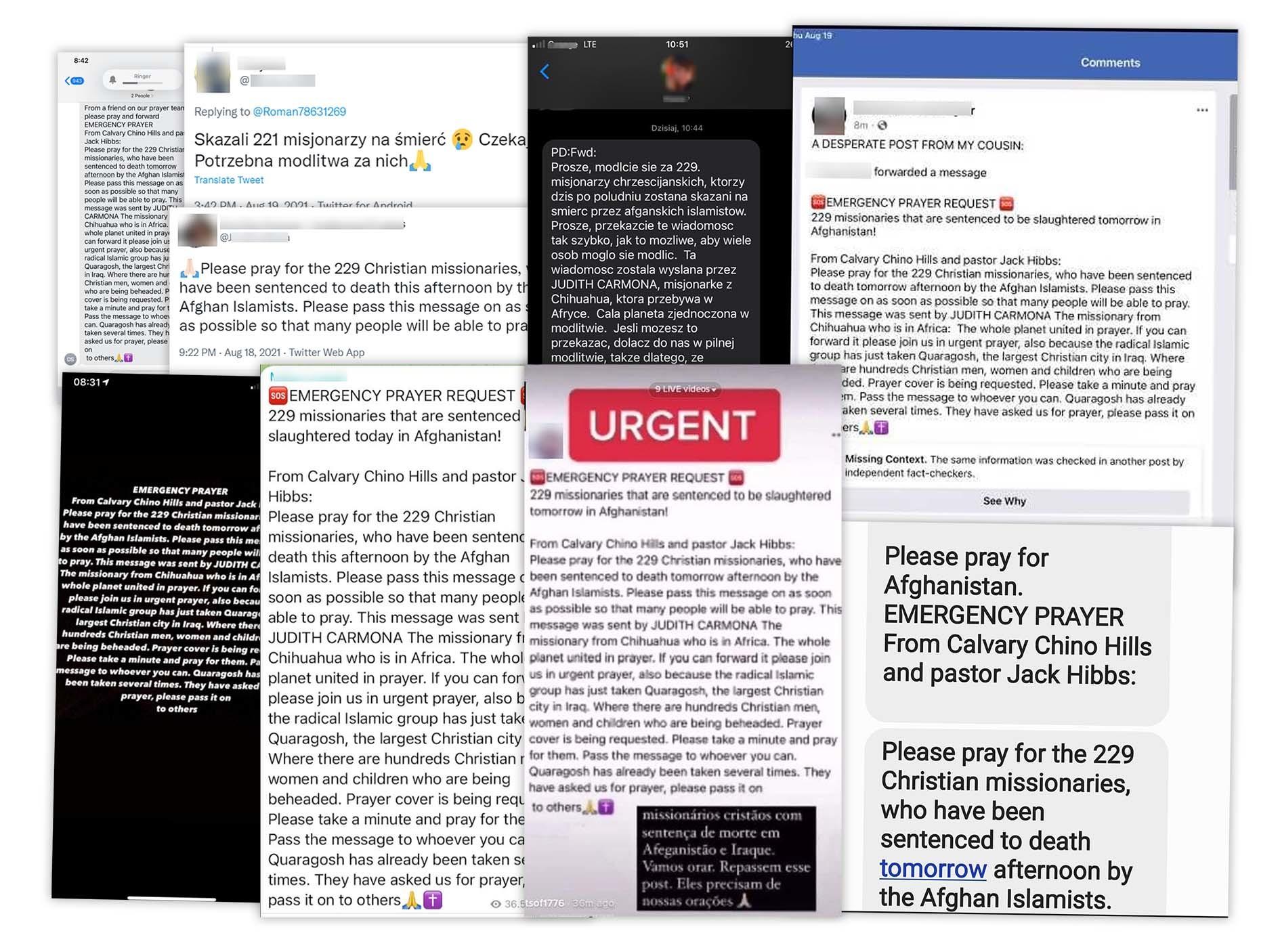 Wiadomości o skazanych na śmierć misjonarzach publikowane są mediach społecznościowych i przesyłane w wiadomościach