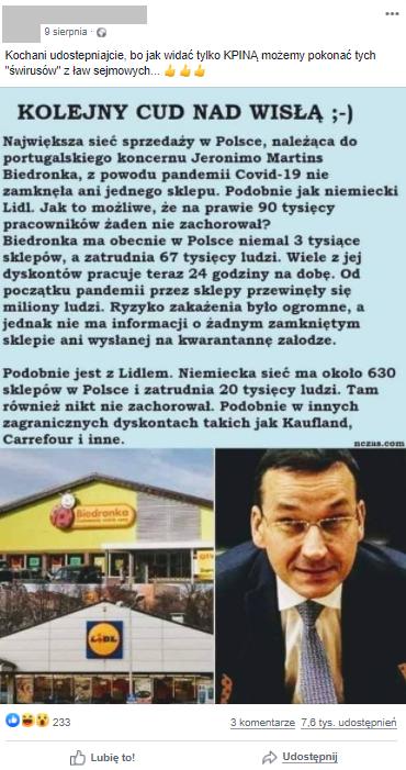 Post z informacjami o wpływie epidemii na funkcjonowanie supermarketów
